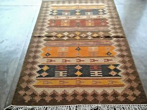 Hand-Woven-Wool-Rug-Turkish-Kilim-Dhurrie-Afghan-Oriental-Area-Rug-4-039-X6-039-ft