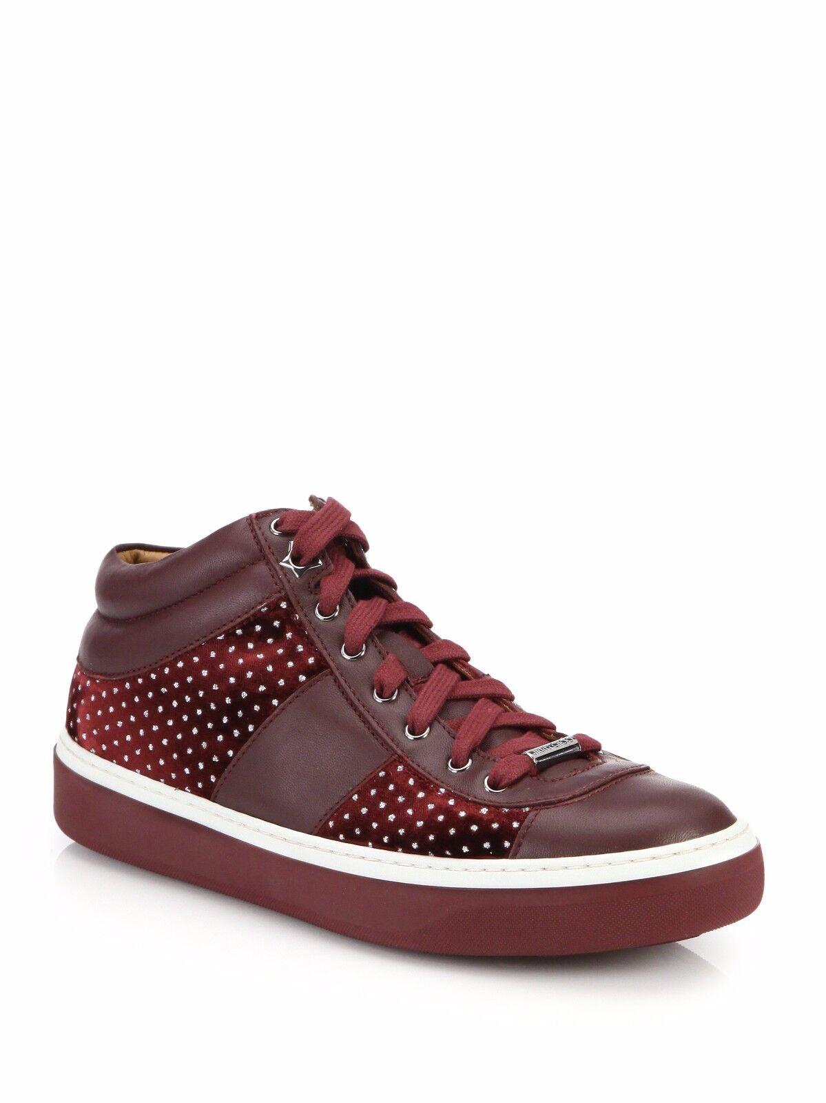 Jimmy Choo Bells Merlot Leather & Velvet Glitter Dot Sneakers Sz 38.5  US 8