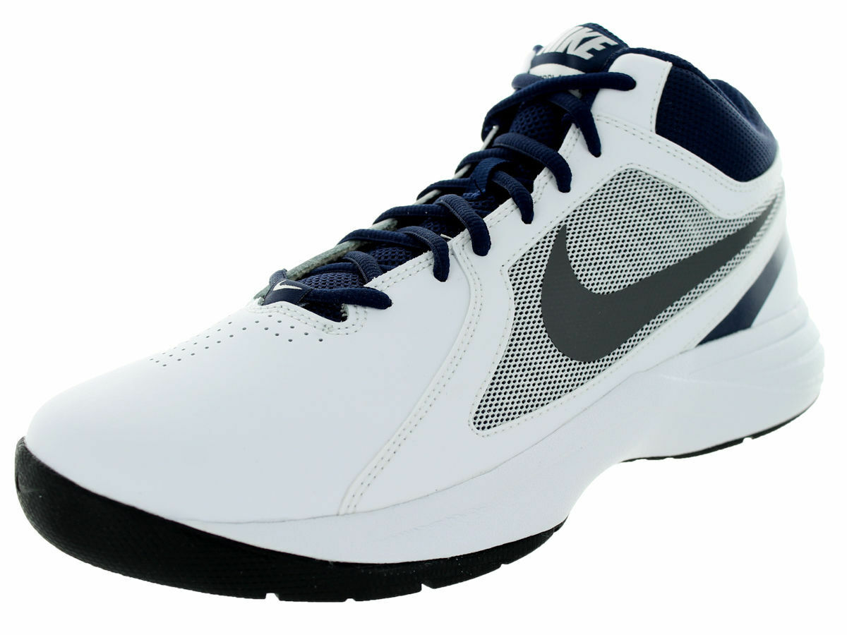 NIKE THE OVERPLAY VIII HI SNEAKERS MEN SHOES WHITE NAVY 637382-103 SIZE 7 NEW