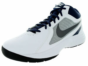 e956423f596 NIKE THE OVERPLAY VIII HI SNEAKERS MEN SHOES WHITE NAVY 637382-103 ...