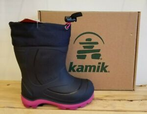 New Kamik Snobuster Winter Boots Navy/ Magenta For Children