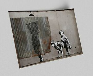 ACEO-Banksy-Peeping-Boys-Graffiti-Street-Art-on-Canvas-Giclee-Print
