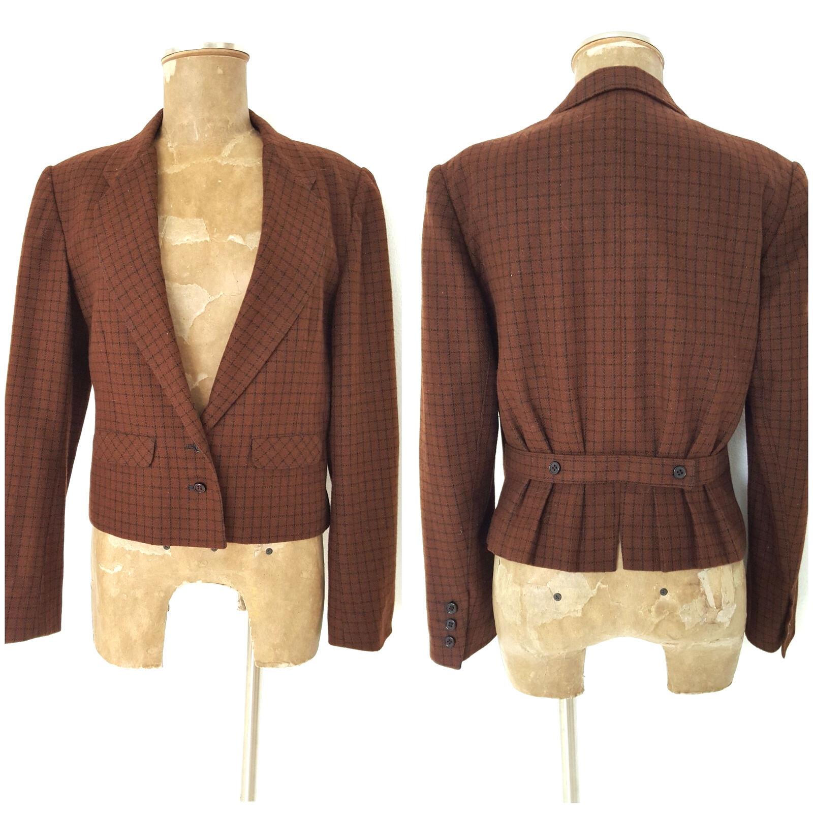 Vintage 80s Plaid Pleated Blazer Size Medium Retro Secretary Peplum Ruffle Wool