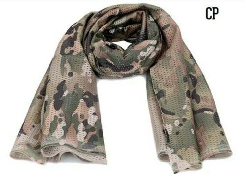 Camo Tactical Mesh Neck Scarf Military Scrim Net Sniper Face Veil Army Outdoor