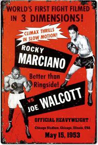 Blechschild ROCKY MARCIANO JOE WALCOTT 30 x 20 cm Metallschild Vintage Nostalgie