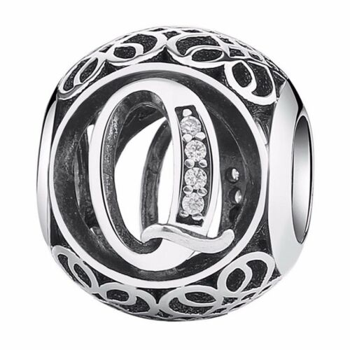 26 Letters Alphabet 925 Silver CZ European Charm Beads Fit Bracelet Chain DIY
