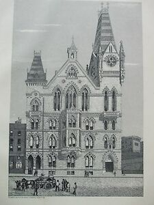 2019 Latest Design Antique Print C1875 The Congregational Memorial Hall Farringdon Street London Bright And Translucent In Appearance Art