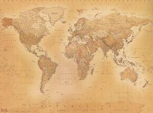 315x232cm-GIGANTE-Murale-Parete-Foto-Carta-da-parati-OLD-STYLE-Mappa-del-mondo