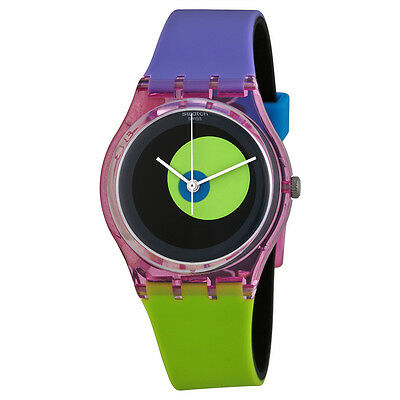 Swatch Circle In A Circle Black Dial Green and Blue Plastic Unisex Watch