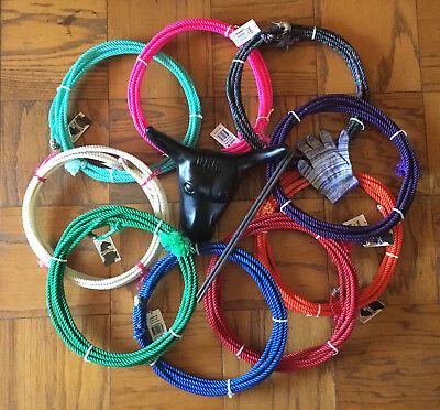 jr lariat junior kids roping practice set glove rope mini steer head lasso new