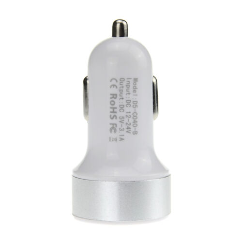 Dual USB 3.1a para coche cargador Adaptador móvil Tablet Navi cámara mp3 blanco