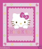 Hello Kitty Fabric Panel Quilt Top Hello Kitty Hearts & Flowers Btp Baby