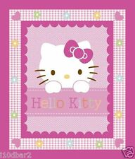 HELLO KITTY FABRIC PANEL QUILT TOP HELLO KITTY HEARTS & FLOWERS BTP BABY NEW