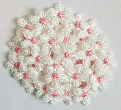 10//30//50//100 PINK /& WHITE GUIPURE LACE DAISY MOTIFS FLOWER APPLIQUES SMALL 20mm