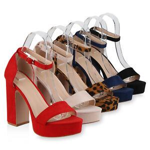 Details zu Damen Plateau Sandaletten Chunky High Heels Party 830212 Schuhe