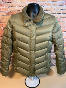 Eddie-Bauer-Goose-Down-Puffer-Jacket-Women-039-s-Size-L-EB550-Fill-Power-Army-Green