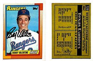Bobby-Valentine-Signed-1990-O-Pee-Chee-729-Card-Texas-Rangers-Auto-Autograph