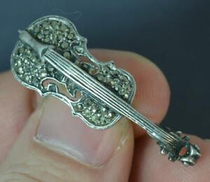 Vintage-1920-039-s-Solid-Silver-amp-Marcasite-Violin-Brooch