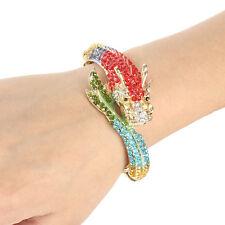 Animal Bold Dragon Bangle Cuff Bracelet Multi Austrian Crystal Gold Plated Gift