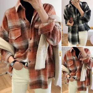 Women-039-s-Long-Sleeve-Warm-Fleece-Check-Shirt-Tops-Casual-Loose-Plaid-Blouse-Tops