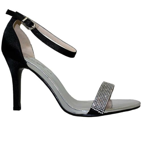 FLH844 Womens Tasmin Elegant Diamante Strap Metallic Satin Feel Heels