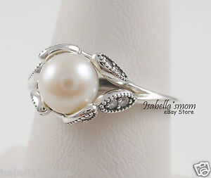 a43f80501 Image is loading LUMINOUS-LEAVES-Authentic-PANDORA-Silver-WHITE-PEARL-Ring-