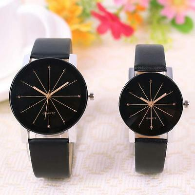 Fashion Men's Women Stainless Steel Leather Band Quartz Analog Wrist Watches WT