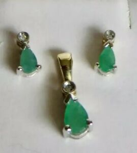 9ct-Yellow-Gold-Emerald-Diamond-Earring-Necklace-Set-Teardrop-Solitaire-Pendant