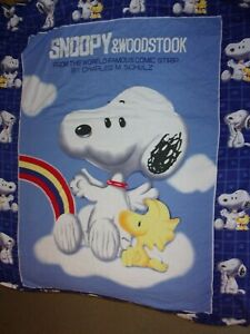 Snoopy-Charles-Schulz-Fitted-Sheet-Double-Full-Blue-Woodstock