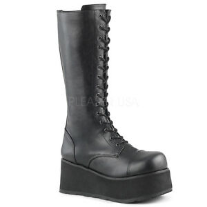DEMONIA-TRA502-B-BPU-Women-039-s-Military-Style-Goth-Punk-Platform-Black-Knee-Boots