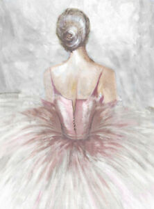 pink ballerina ballat stretched canvas print painting wall