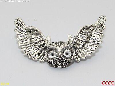 Superb Pewter Flying Owl Brooch Pin Craftsman Signed