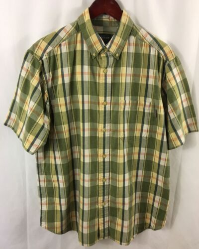 Woolrich Mens Shirt Large Green Madras Plaid SS Button Down Camp Fishing