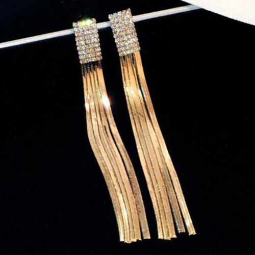 Vintage Tassel Chain Geometric Long Charm Women Fashion Crystal Earrings Alloy