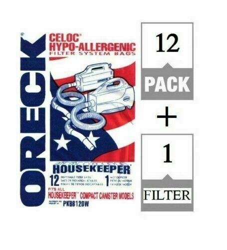 12 Pack Oreck XL Buster B Canister Vac Bags PKBB12DW Housekeeper Bag + Filter BB