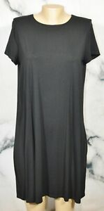 J. JILL WEAREVER COLLECTION Black Stretch Jersey Dress PM Petite Medium Short Sl