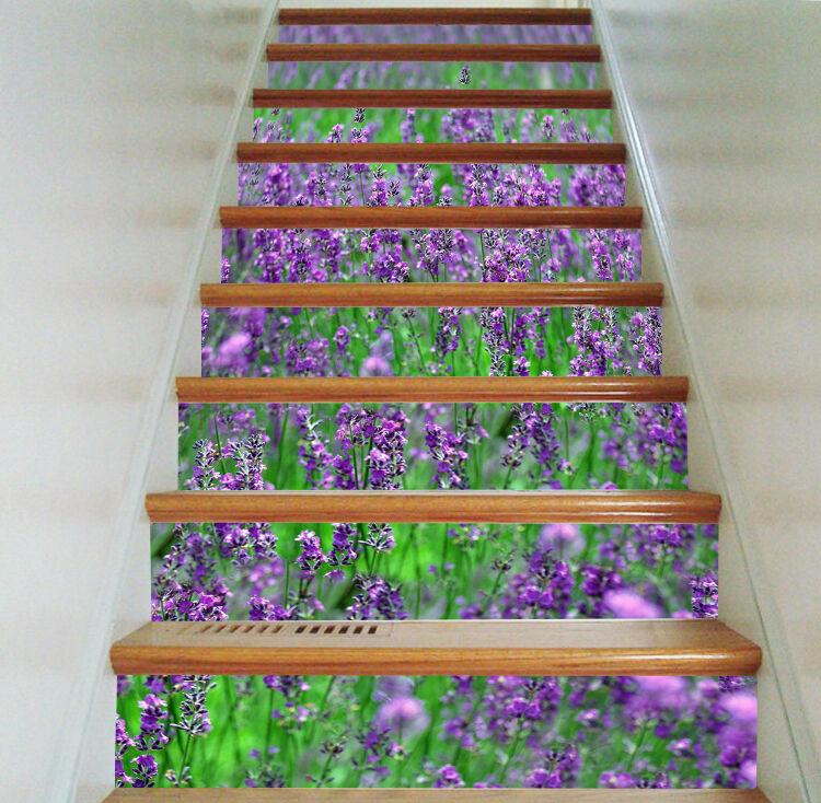 3D Lavendel Blaume 80Stair Risers Dekoration Fototapete Vinyl Aufkleber Tapete DE