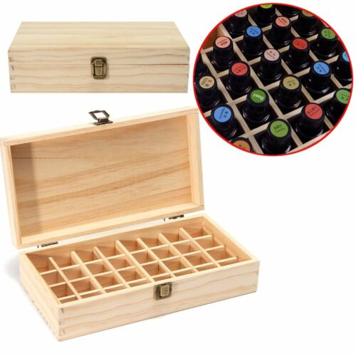 32 Holes Essential Oils Wooden Box Container Solid Pine Pure Natural Wood Storag