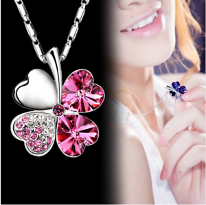 Collana-Donna-Quadrifoglio-Cristallo-Charms-Swarovski-Portafortuna-Regalo-Top