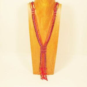 40-034-Long-Multi-Strand-Orange-Pink-Color-Handmade-Seed-Bead-Tassel-Necklace
