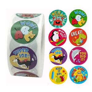 500pcs Roll Animals Cartoon Stickers For Kids Toys Sticker 1 Inch Reward Sticker Ebay