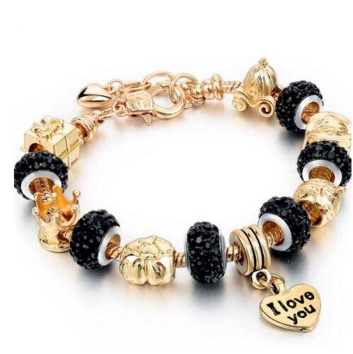 Bracelet femme Charms européen dore or orné cristal autrichien Noir diamant E22