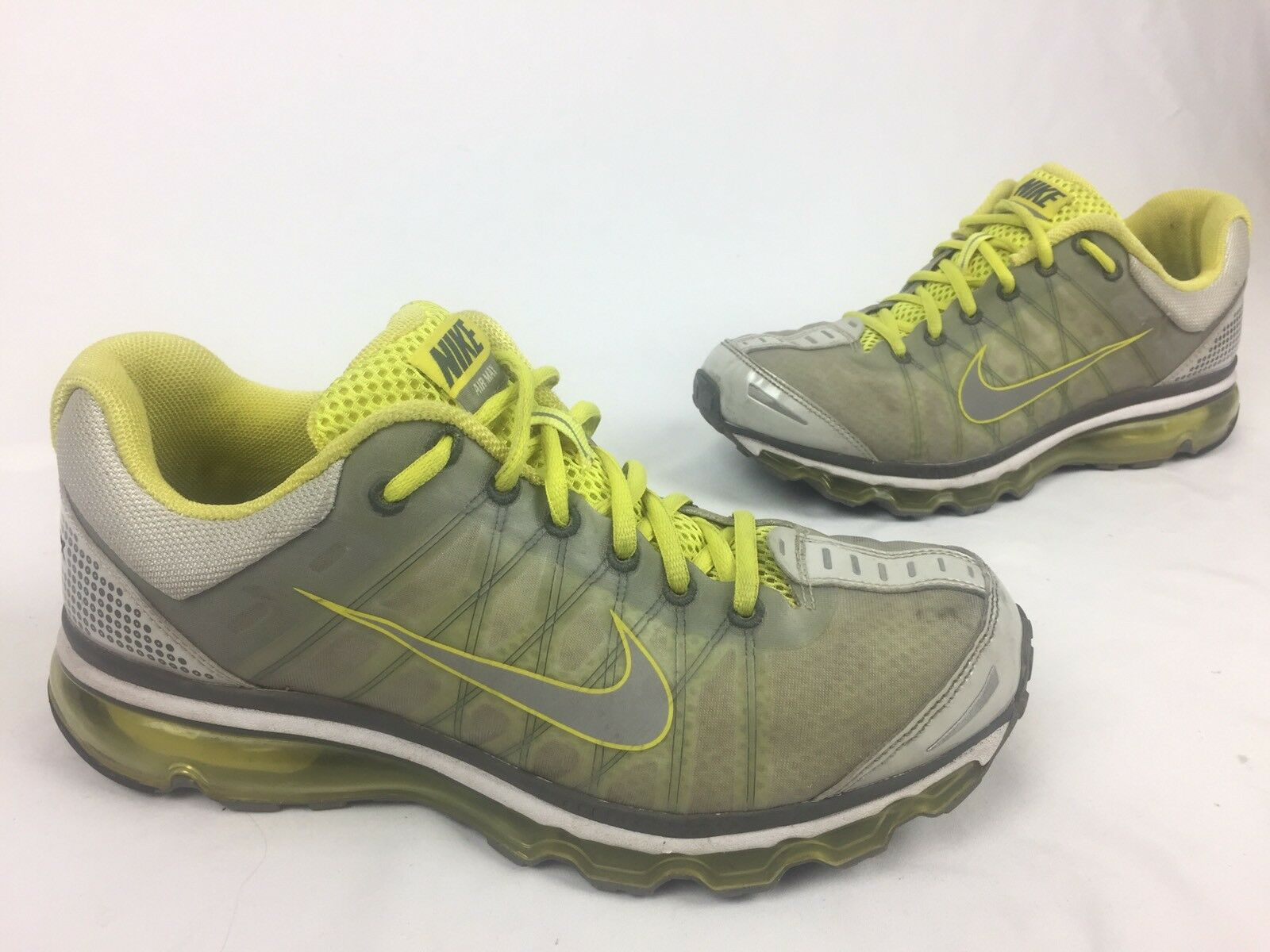 Nike Air Max+ 2009 Silver / Neon Running Shoes Sneakers Size 10
