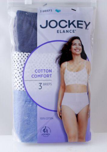 NWT Jockey Women Elanc Cotton Classic Fit Briefs Blue Dots Charcoal SZ 8,9,10,11