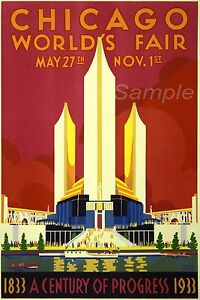 VINTAGE CHICAGO TRAVEL A3 POSTER PRINT