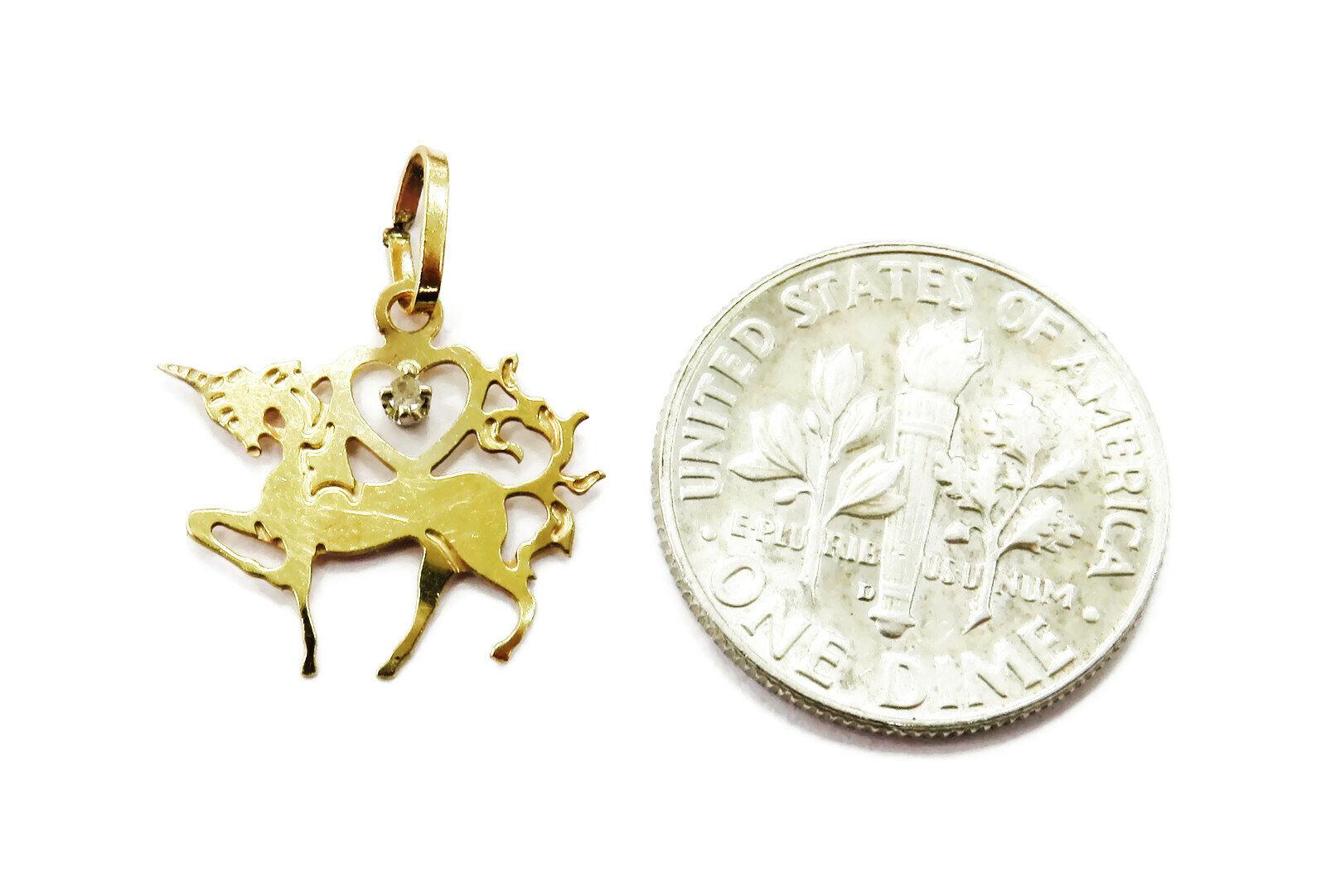 14K Yellow Gold Unicorn Charm Necklace Pendant ~ … - image 2