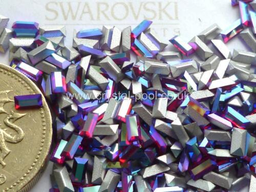 24 x swarovski 4 mm x 2mm Light Siam AB silver-foiled # 4501 baguettes