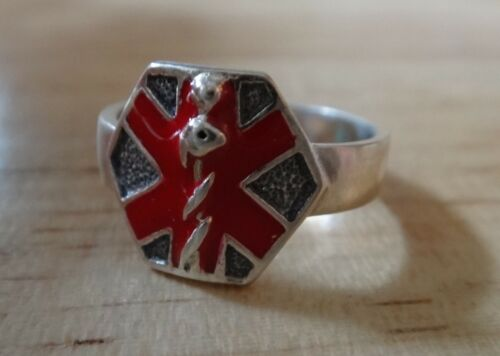 size 6 Sterling Silver Red Enamel Medical ID Alert 12mm top tapers to 4mm Ring