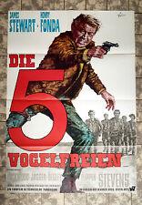 JAMES STEWART * DIE 5 VOGELFREIEN - A1-FILMPOSTER #A - Ger 1-Sheet ´68 FIRECREEK