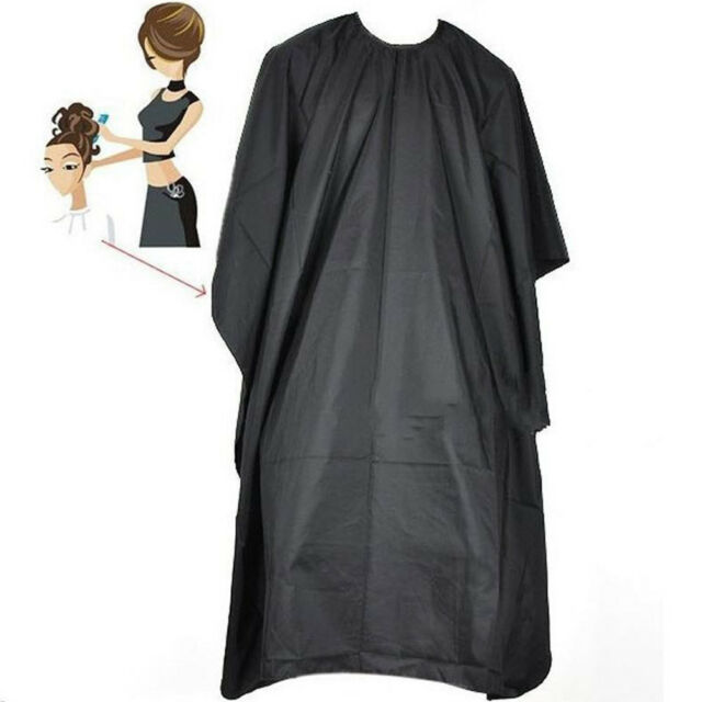 Black Waterproof Hair Cutting Cloak Cloth Cape Salon Barber Hairdressing Gown